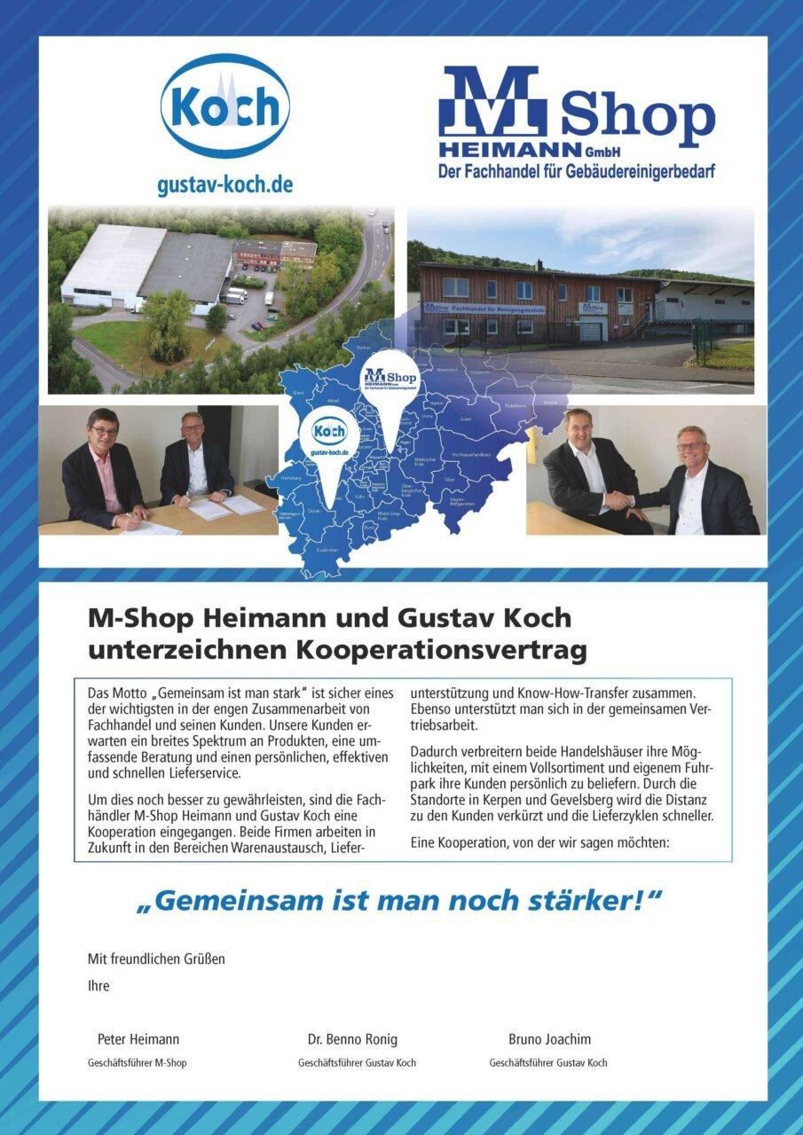 Kooperation Gustav Koch und M-Shop Heimann